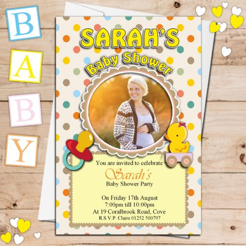 10 Personalised Unisex Yellow Ducky Baby Shower PHOTO Invitations N20